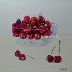 Framboises & cerisesHuile sur toile20 x 20 cm