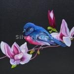 Pink Robin IIHuile sur bois10 x 10 cm