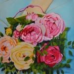 Roses d'antanHuile sur toile40 x 40 cm