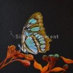 Malachite ButterflyHuile sur bois10 x 10 cm
