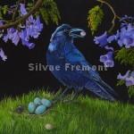 Raven with a pearlHuile sur bois22,5 x 30 cm
