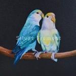 LovebirdsHuile sur bois10 x 10 cm